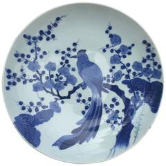 "Japan Beautiful Large Antique Hand-Painted Blue & White Porcelain ""Bird"" Charger"
