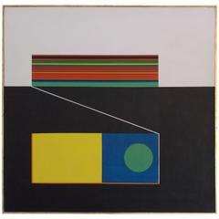 Vintage Modern Art Geometric Painting Domsky, 1968