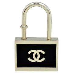 Black and Silvertone Padlock Keychain or Necklace Pendant in the Style of Chanel