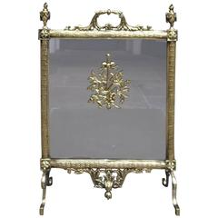 French Brass Lyre & Floral Acanthus Free Standing Fire Screen, Circa 1830