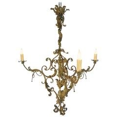 19th Century Tuscan Wrought Iron Renaissance Green Chandelier