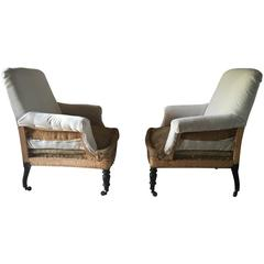 Pair of Antique French Velvet Deconstructed Club Chairs