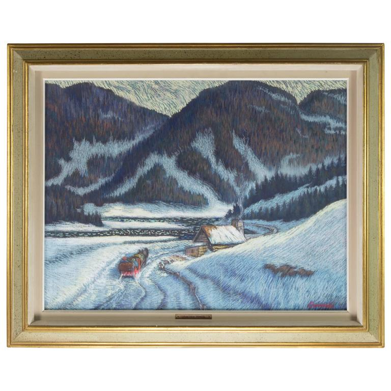 Canadian Winterscape Pastel on Board Louis Paul Perron