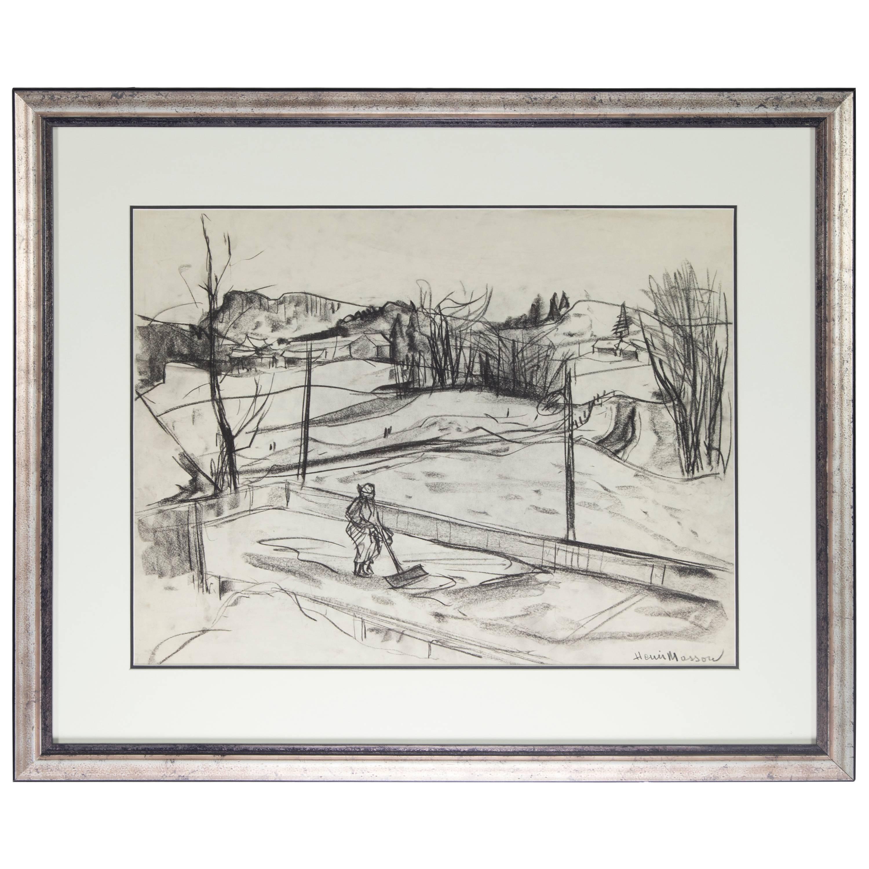 Estate Henri Leopold Masson Untitled Landscape Charcoal on Paper