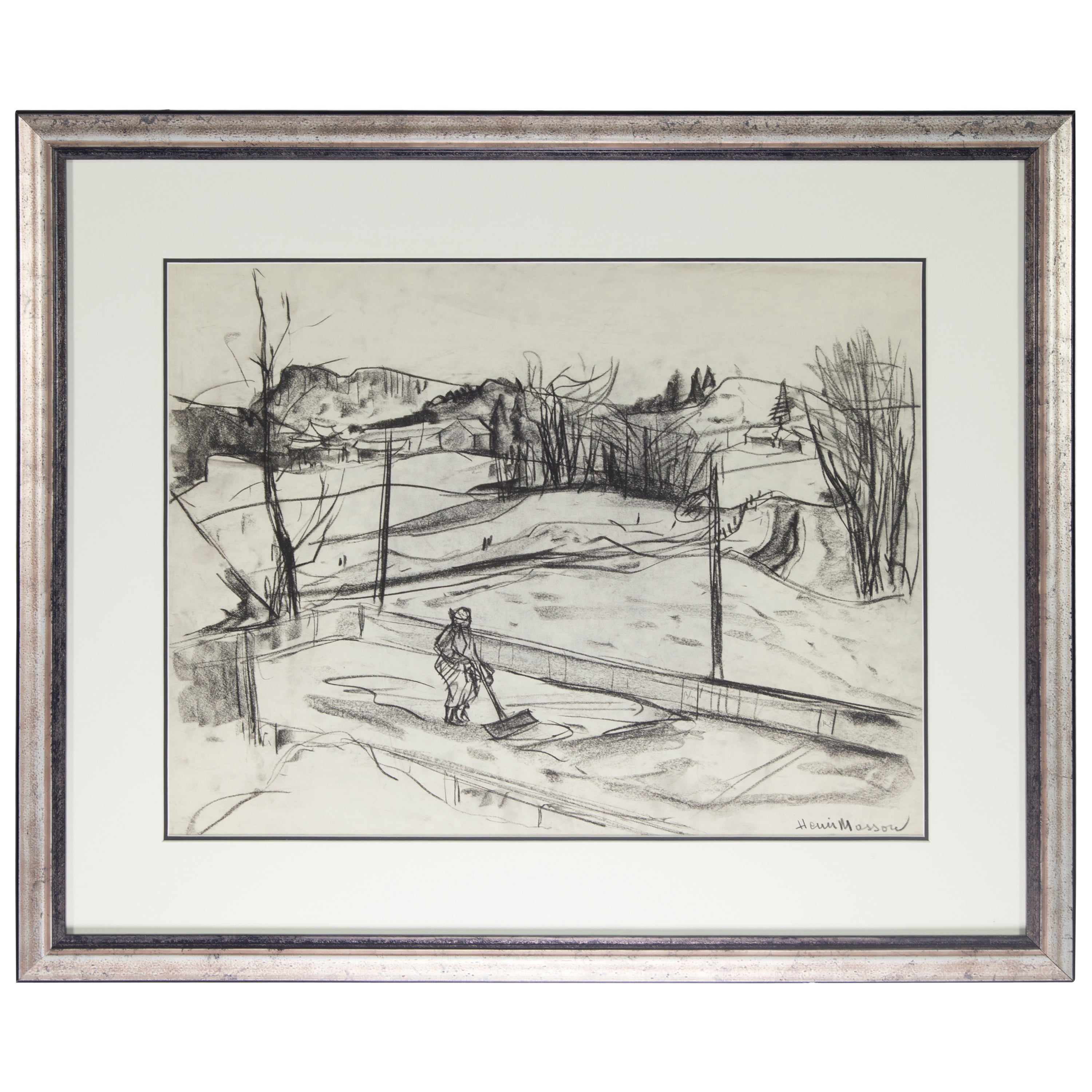 Estate Henri Leopold Masson Untitled Landscape Charcoal on Paper