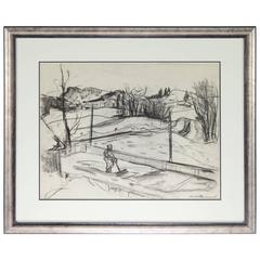 Henri Leopold Masson Untitled Landscape Charcoal on Paper