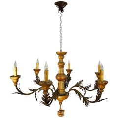 19th Century Antique Venetian Hand-Painted Wood 6-arm Chandelier