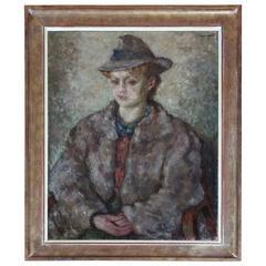 Oil on Canvas Portrait of Seated Woman by Tadeusz Cybulski