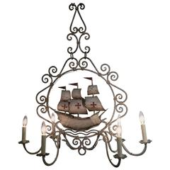 Mid-20th Century, French Painted Iron Six-Light Sailboat Chandelier