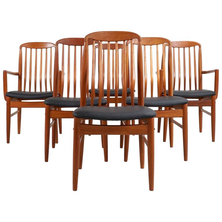 Charming Six Danish Modern Teak Dining Chairs By Benny Linden For Sale
