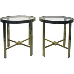 Stunning Pair of Side or End Tables in Brass with Great Design by Milo Baughman