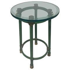 Great Gucci Style Side or Accent Table in Brass and Iron, circa 1970
