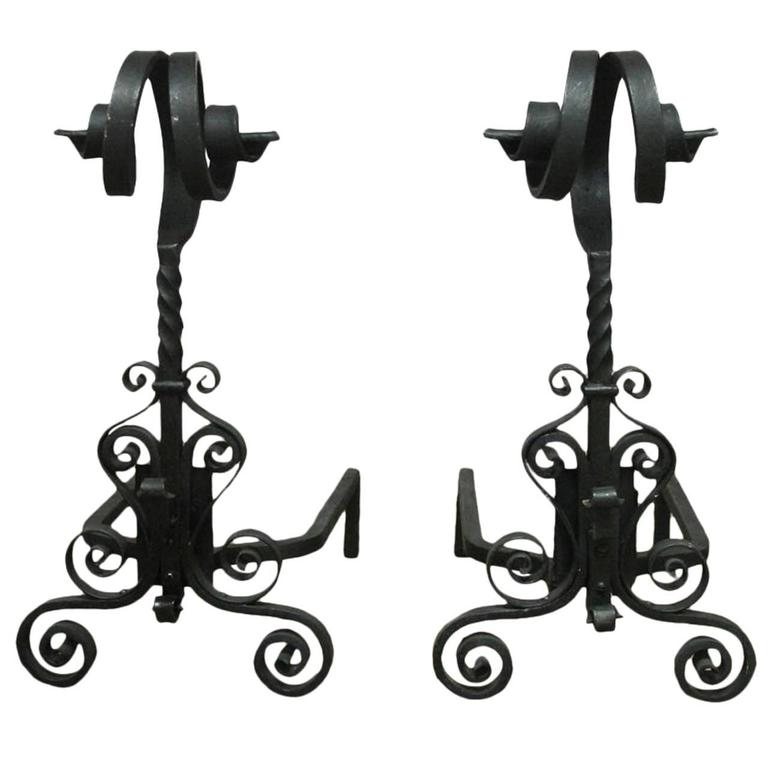 Pair of Arts & Crafts Ram's Head Wrought Iron Andirons For Sale