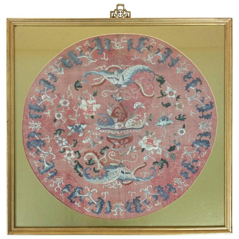 Chinese Framed And Glazed Silk Embroidery Piece For Sale At 1stdibs