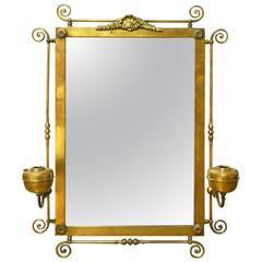 Period Art Nouveau Brass Mirror with Oil Lamp Sconces