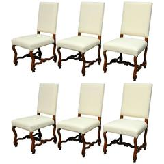 Set of Six French Os de Mouton Style Dining Chairs