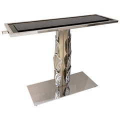 Italian Contemporary Polished Chrome and Black Glass Console with Shell Motif