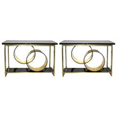 1970s Italian Pair of Modern Brass and Black Central Consoles