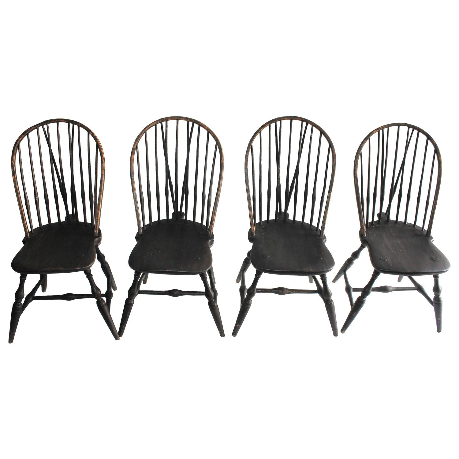Set of Four 18th Century Black Painted Brace Back Windsor Chairs