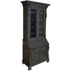19th Century English Renaissance Weathered Oak Secretary Bookcase