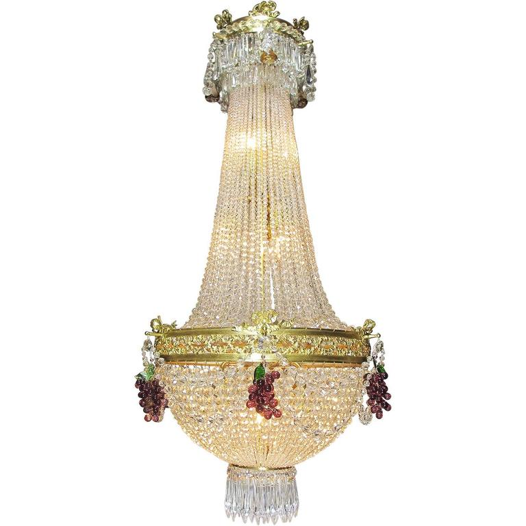 French 19th-20th Century Louis XVI Style Beaded Glass and Gilt-Metal Chandelier
