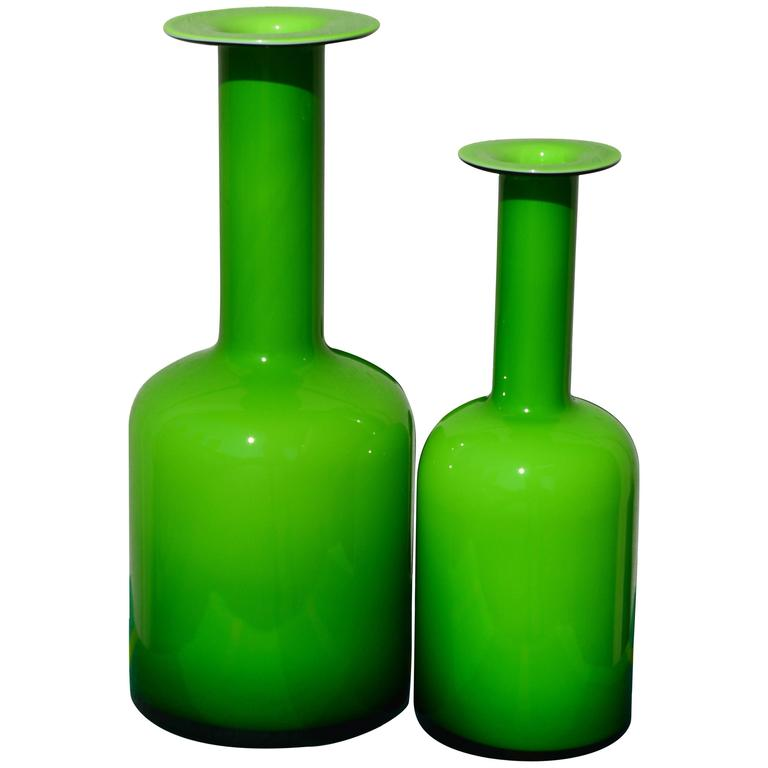 Pair of Green Glass Holmegaard Gulvases by Otto Brauer For Sale