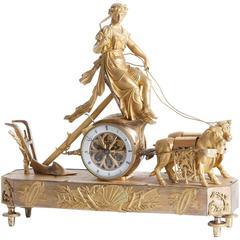 Chariot of Ceres Clock in Gilded Bronze