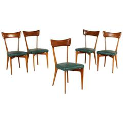 Five Chairs in the Style of Ico Parisi Mahogany Leatherette Vintage, 1950s