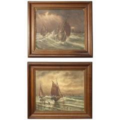 20th Century Pair of French Signed Seascape Paintings