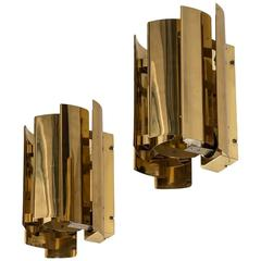 Pair of Wall Lamps in Brass Produced by Falkenbergs Belysnings AB