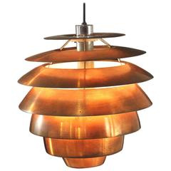 Hanging Lamp by Stilnovo Brushed Copper Lacquered Metal Vintage, Italy, 1960s