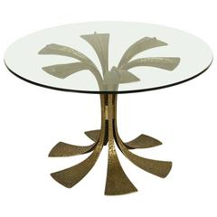 Table by Luciano Frigerio Melted Bronze Glass Vintage, Italy, 1970s