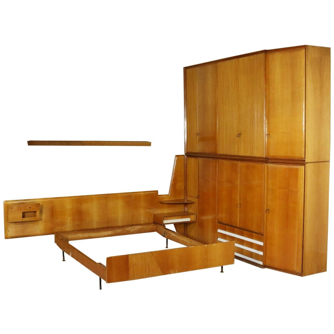 bedroom wardrobe and double bed maple veneer mahogany vintage italy