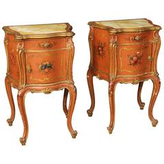 20th Century Pair of Venetian Lacquered and Gilded Nightstands