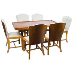 Antique Art Deco Dining Table and Six Chairs, circa 1930