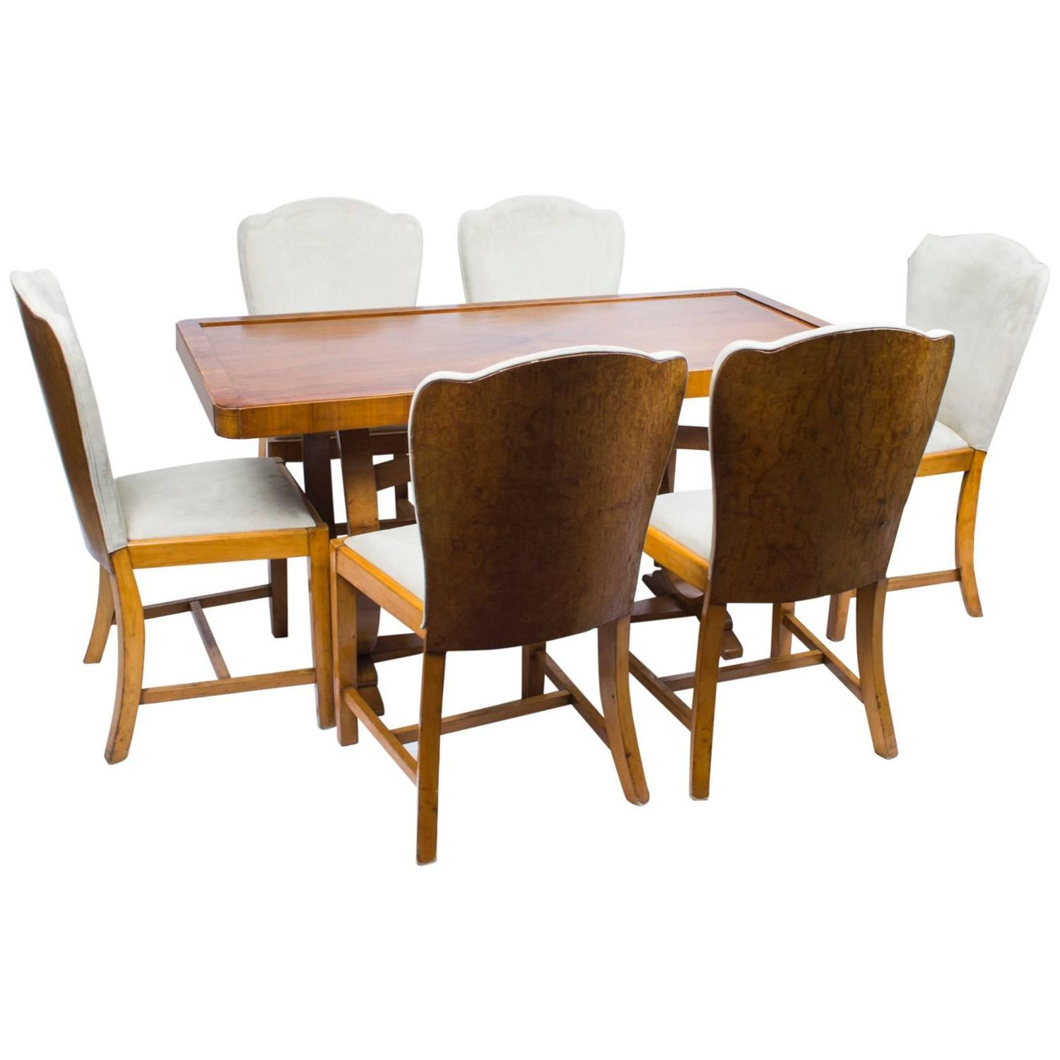 Antique Art Deco Dining Table and Six Chairs circa 1930