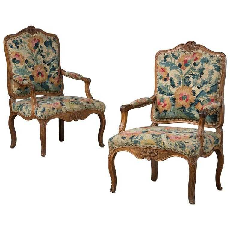 Pair of french rococo armchairs in walnut with 39 gobelin for French rococo furniture
