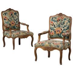 Pair of French Rococo Armchairs in Walnut with 'Gobelin' Fabric