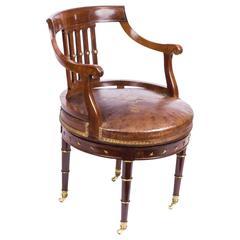 Antique French Empire Revolving Desk Chair, circa 1870