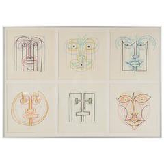 Hand Signed Six-Piece Artwork by Bruno Munari for Danese, Italy, circa 1970