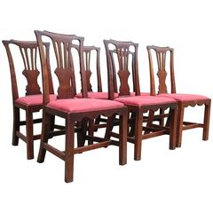 Set of Six George III Fruitwood Dining Chairs