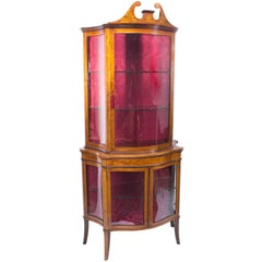 Antique Edwardian Inlaid Display Cabinet 19th C
