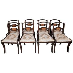 Set of Eight Mahogany Regency Dining Chairs Rope Backs