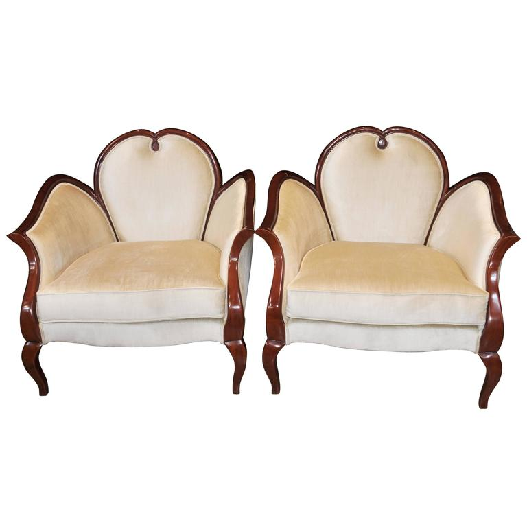 French Empire Style Heart Arm Chairs Fauteils Regency