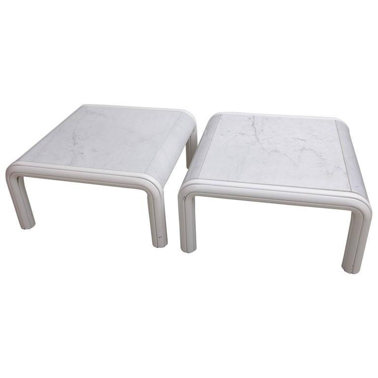 Rare Pair of Marble Coffee or Sofa Tables by Gae Aulenti for Knoll, Italy, 1970s