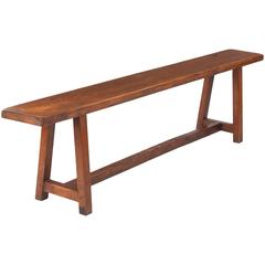 French Country Oak Farm Bench, Early 1900s