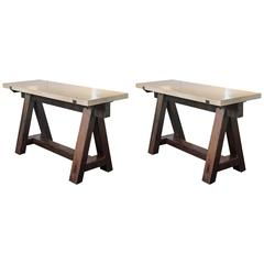 Antique Dark Pine French Saw Horse Entry Tables