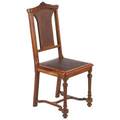 French Renaissance Style Leather Seat Chair, Late 1800s