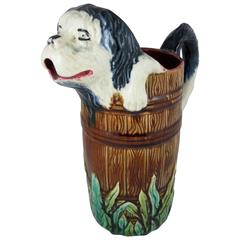 Antique Orchies French Barbotine Majolica Jug, Dog Climbing Out of a Barrel