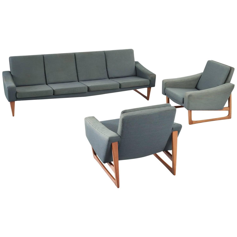 Scandinavian Living Room Set In Teak And Green Upholstery For Sale At 1stdibs